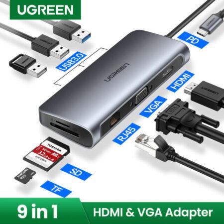 Adaptador 9 en 1 UGREEN USB Tipo C 9 In 1 Hub USB-C a HDMI VGA Card Reader RJ45 PD Adaptador